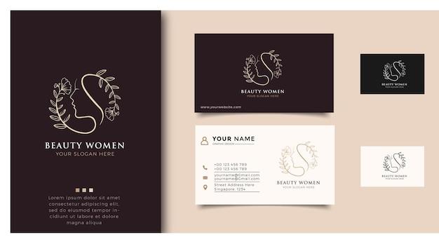 Inspiración del logotipo de mujeres de belleza con tarjetas de presentación para el cuidado de la piel, salones y spas, con combinación de hojas