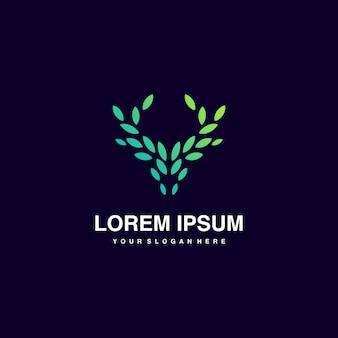 Inspiración de logotipo de naturaleza abstracta ciervo verde