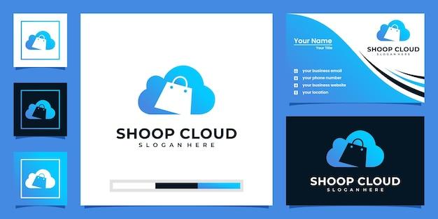Inspiración del logotipo de la nube de la tienda creativa y diseño de tarjetas de visita.