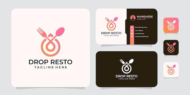 Inspiración del logotipo de tenedor y cuchara de restaurante de gota degradada
