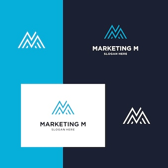 Inspiración para marketing de logotipos, montaña e iniciales m