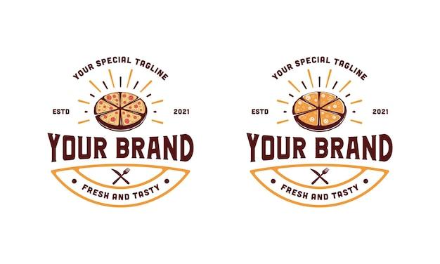 Inspiración de plantilla de diseño de ilustración de logotipo de restaurante de pizza vintage