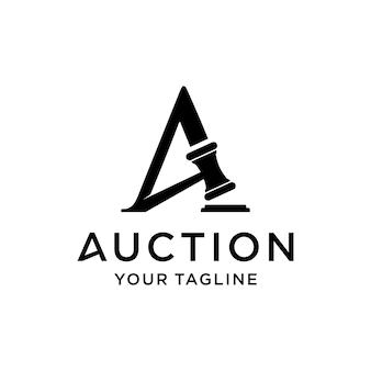 Inspiración de plantilla de diseño de letra inicial del logotipo de subasta