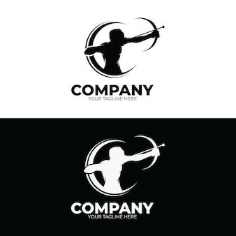 Inspiración de plantilla de diseño de logotipo de tiro con arco
