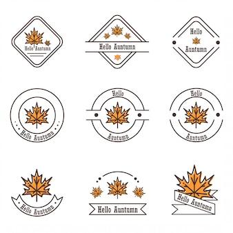 Inspiración vectorial del diseño plano de varios iconos y logotipos de hojas de arce que traen el tema del otoño.