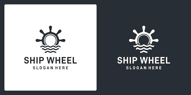 Inspiración del volante de barcos y embarcaciones con forma de olas del mar. vector premium