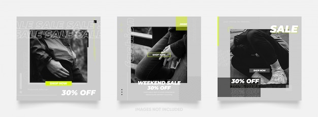 Instagram y facebook póster de rompecabezas de marco cuadrado. banner de publicación de redes sociales para promoción de venta de moda