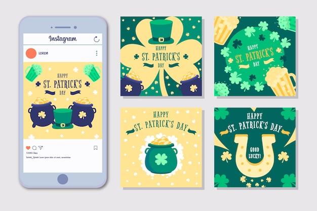 Instagram st. conjunto de publicaciones del día de patrick