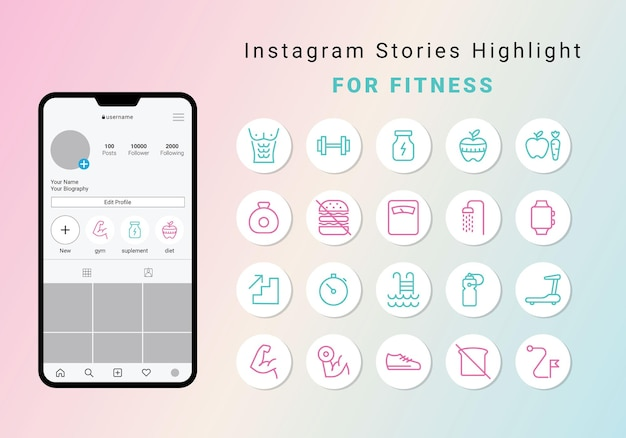 Instagram stories highlight cover para fitness
