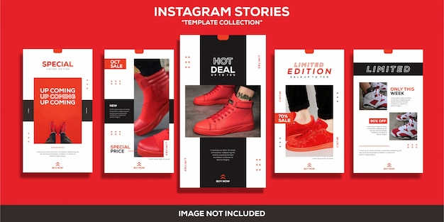Instagram stories sport shoes red template collection