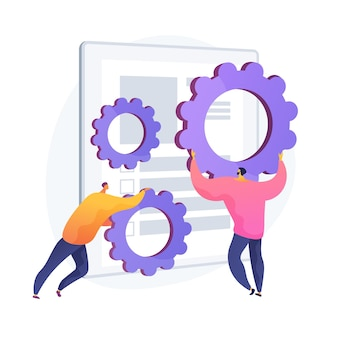 Instalación de software. ajuste del contrato, regulación de los términos del acuerdo, arreglo del programa. compañeros de trabajo con personaje de dibujos animados de engranajes. errores de aplicación. ilustración de metáfora de concepto aislado de vector