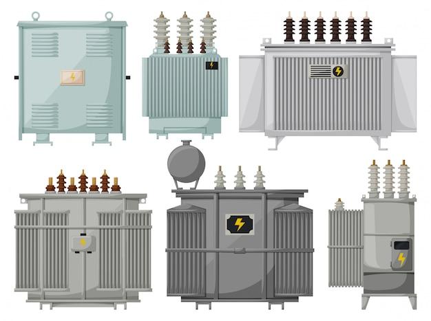 Instalación del transformador sobre fondo blanco. conjunto de dibujos animados aislados icono subestación de energía. conjunto de dibujos animados transformador de icono.