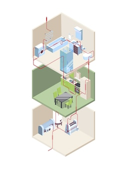 Instalación de tuberías. cruce de la casa con tuberías de agua fría y caliente, sistemas modernos vectoriales isométricos. sección transversal de la tubería, ilustración de instalación de construcción