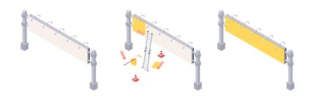 Instalación de vallas publicitarias isométricas con varias etapas de pegar publicidad en el banner de la gran ciudad.