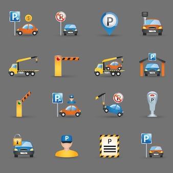 Instalaciones de aparcamiento iconos planos de fondo de grafito