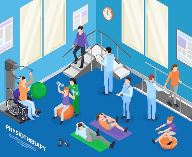 Instalaciones de rehabilitación de fisioterapia clínica sala de ejercicios acelerando la recuperación actividades físicas con sesión de terapeuta composición isométrica ilustración