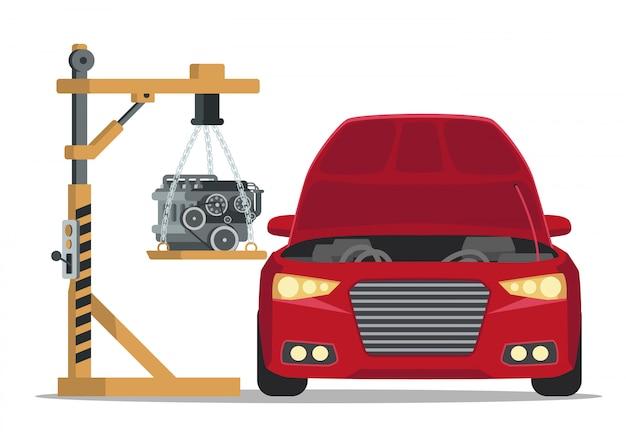 Instalar el motor bajo el capó del coche rojo