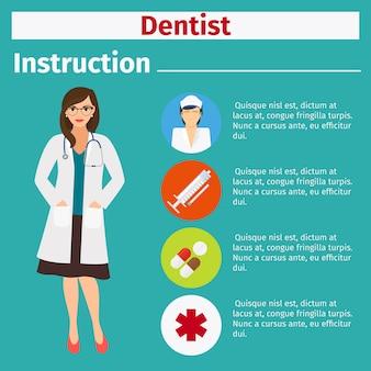 Instrucción de equipo médico para dentista.