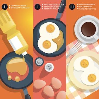 Instrucciones de cocción para freír huevos revueltos. yema y sartén, aceite y taza de café, desayuno gourmet.