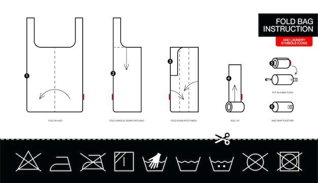 Instrucciones de cómo doblar la bolsa ecológica paso a paso.