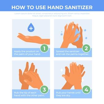 Instrucciones desinfectantes para manos planas con escalones