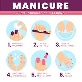 Instrucciones de manicura para el hogar.