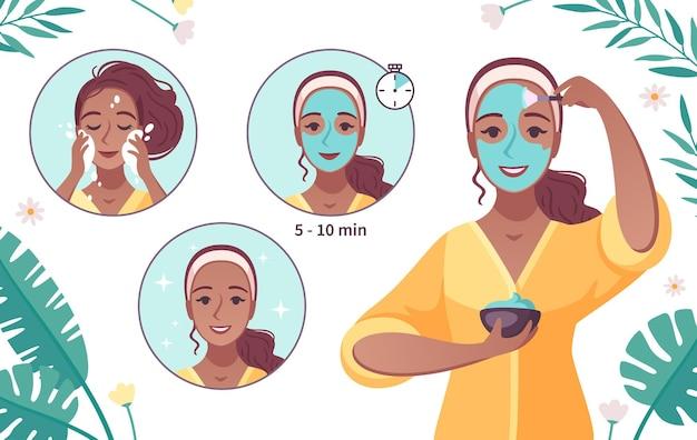 Instrucciones pictóricas de productos para el cuidado de la piel con una mujer joven que aplica quitando la mascarilla facial