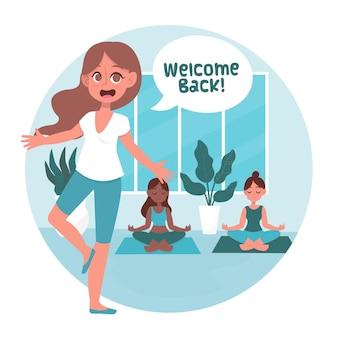El instructor da la bienvenida a las clases de yoga.