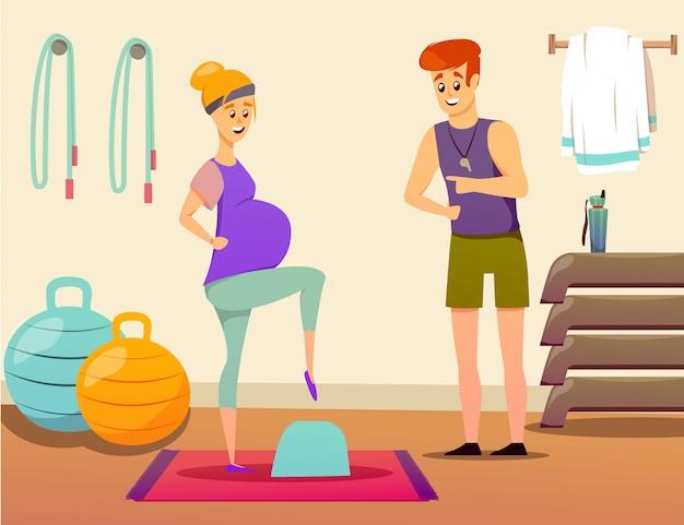 Instructor de deporte de mujer embarazada
