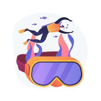Instructor de escuela de buceo. buceo, recreación subacuática, lección de snorkel. buzo masculino en traje de neopreno y máscara nadando con aqualung.