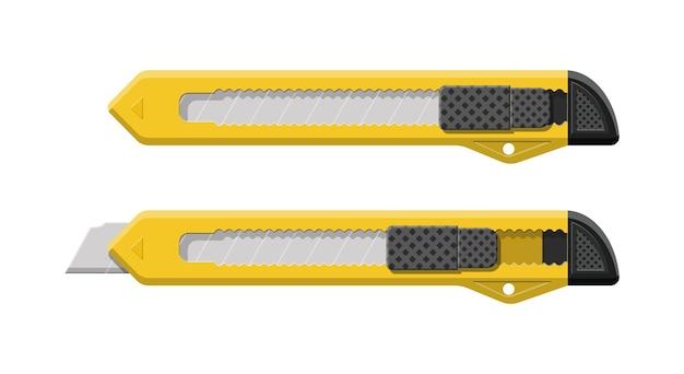 Instrumento de corte de caja amarilla aislado. cuchilla desprendible, cuchillo para material de oficina.