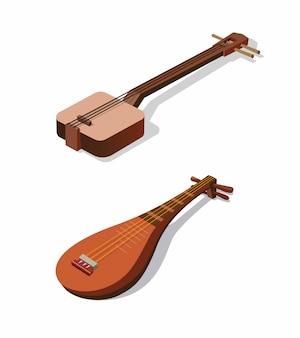 Instrumento de cuerda tradicional japonés shamisen y biwa vector ilustración isométrica