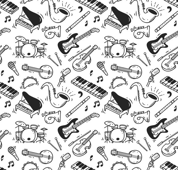 Instrumento de música doodle sin patrón