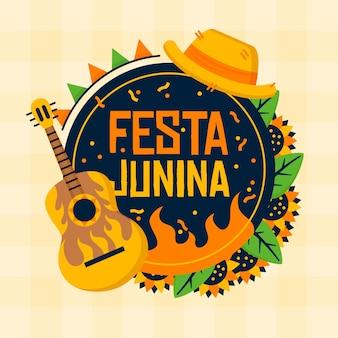 Instrumento de guitarra de diseño plano festa junina