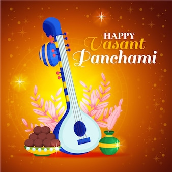 Instrumento de guitarra dorada y comida vasant panchami