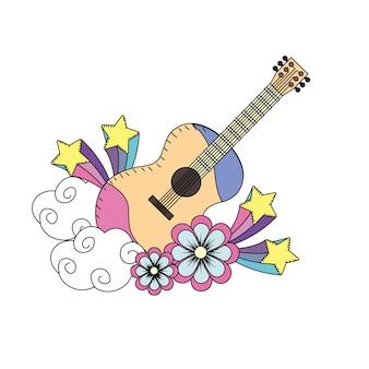 Instrumento de guitarra de música con flores y estrellas