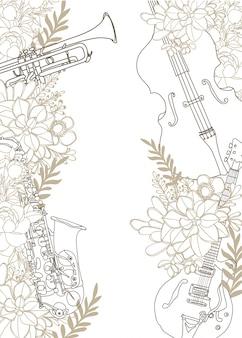 Instrumento musical en flores aisladas sobre fondo blanco