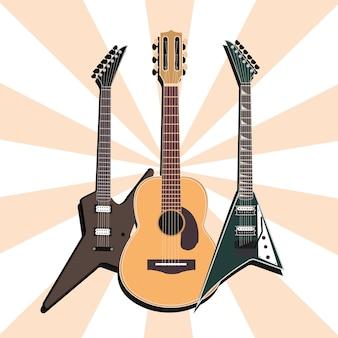 Instrumento musical de guitarras acústicas y eléctricas, ilustración de fondo sunburst