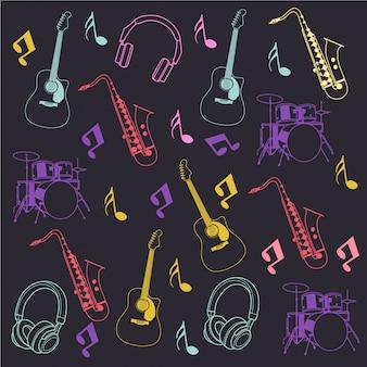 Instrumento musical y patrón de notas.
