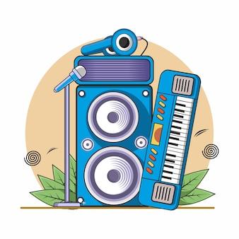 Instrumento musical, piano, micrófono, auriculares y sistema de sonido.