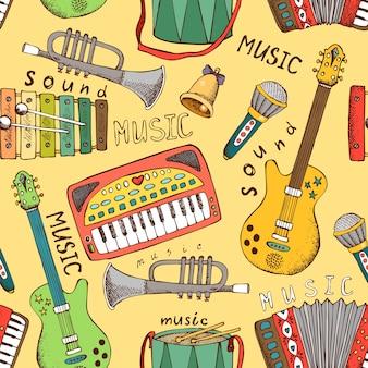 Instrumento musical pintado ilustración de vector de patrones sin fisuras
