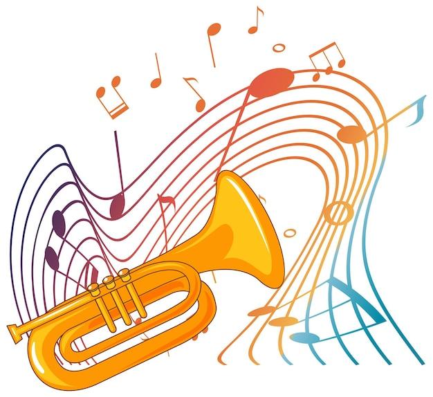 Instrumento musical de trompeta con símbolos de melodía
