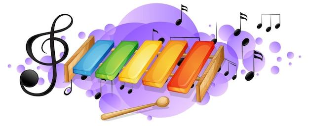 Instrumento musical xilófono con símbolos de melodía en mancha púrpura