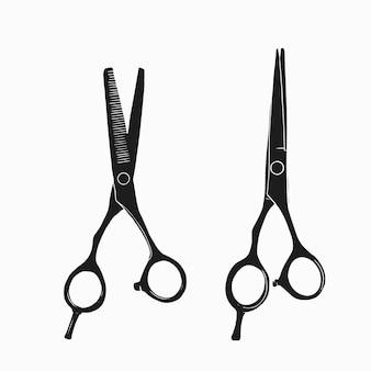 Instrumento de peluquería en blanco y negro
