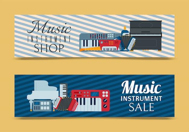 Instrumento de teclado musical tocando sintetizador equipo banner