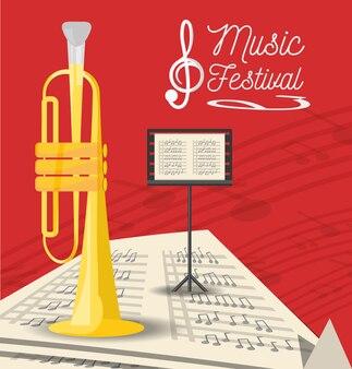Instrumento de trompeta con partituras
