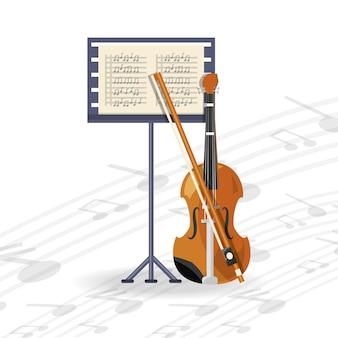 Instrumento de violín con partitura musical.