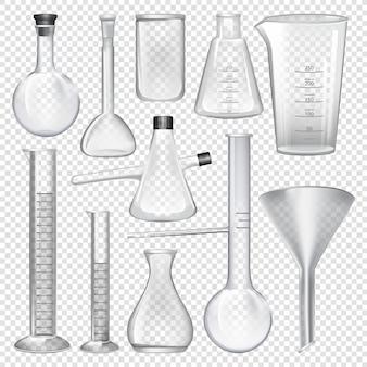 Instrumentos de cristalería de laboratorio.