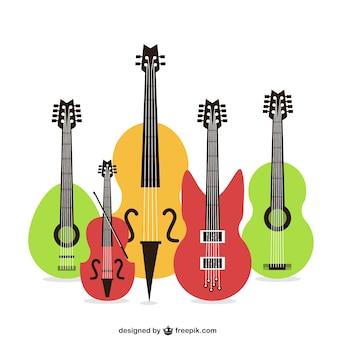 Instrumentos de cuerda coloridos