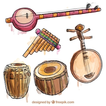 Instrumentos exóticos pintados a mano